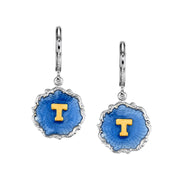 Silver Tone Blue Enamel Gold Tone Initial Earrings W