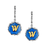 Silver Tone Blue Enamel Gold Tone Initial Earrings