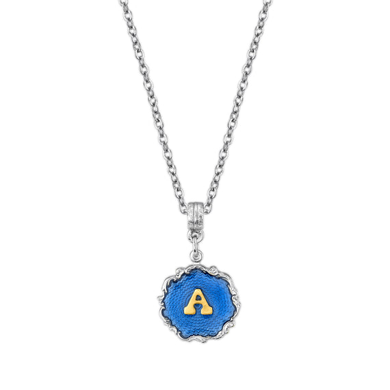 Silver Tone Blue Enamel Gold Tone Initial Necklace A