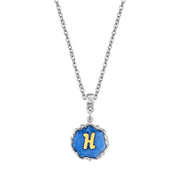 Silver Tone Blue Enamel Initial Necklace H
