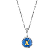 Silver Tone Blue Enamel Gold Tone Initial Necklace 16   19 Inch Adjustable K