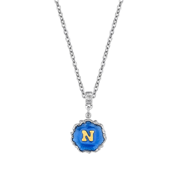 Silver Tone Blue Enamel Gold Tone Initial Necklace 16   19 Inch Adjustable N