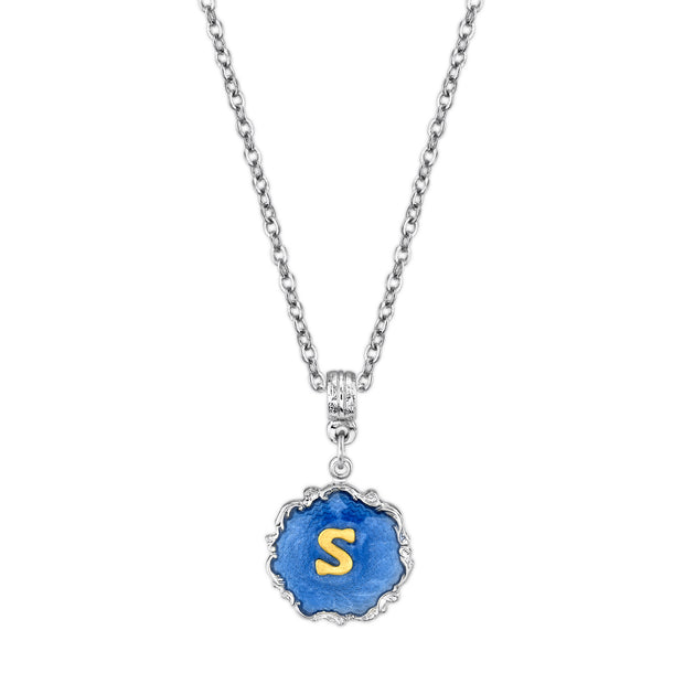 Silver Tone Blue Enamel Gold Tone Initial Necklace 16   19 Inch Adjustable S