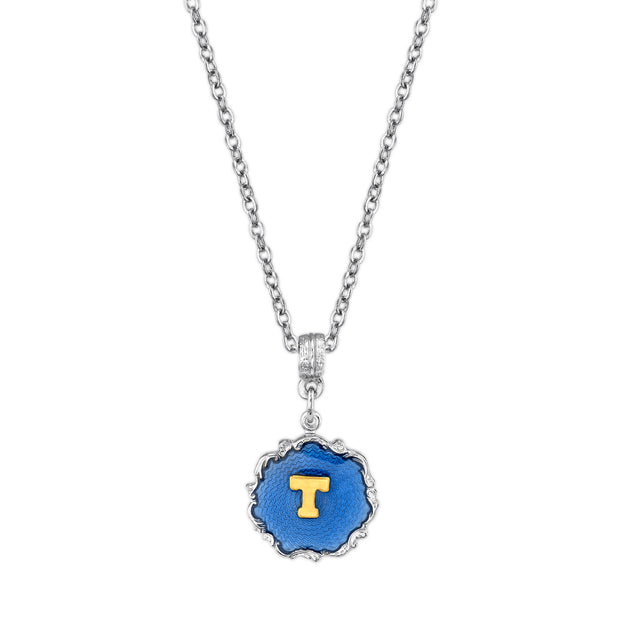 Silver Tone Blue Enamel Gold Tone Initial Necklace 16   19 Inch Adjustable T