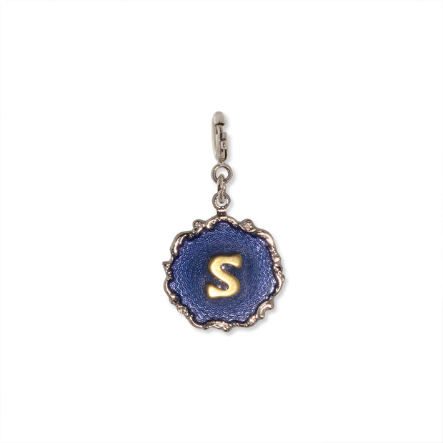 Silver Tone Blue Enamel Gold Tone Initial S Charm