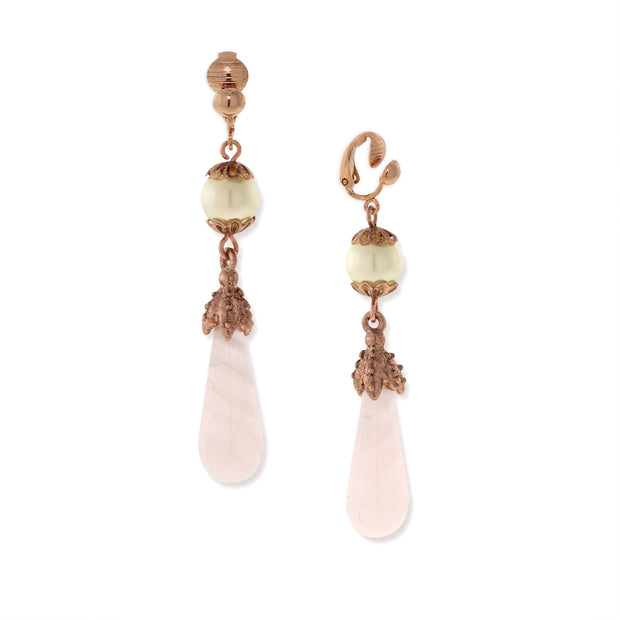Rose Gold Costume Pearl/Rose Quartz Clip Earring