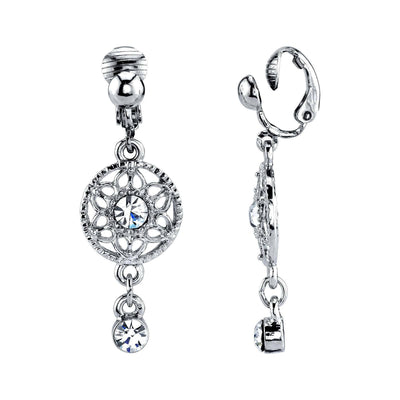 Silver Tone Crystal Clip On Drop Earrings