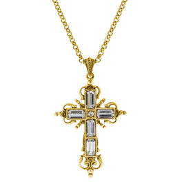 14K Gold Dipped Crystal Cross Necklace 18 In Adj