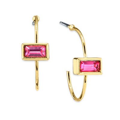 14K Gold Dipped Rectangle Crystal Open Hoop Stainless Steel Post Earring Black