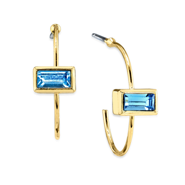 14K Gold Dipped Rectangle Crystal Open Hoop Stainless Steel Post Earring Dark Green