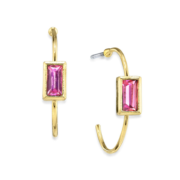 14K Gold Dipped Square Crystal Open Hoop Post Earring Pink