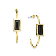 14K Gold Dipped Square Crystal Open Hoop Post Earring Black