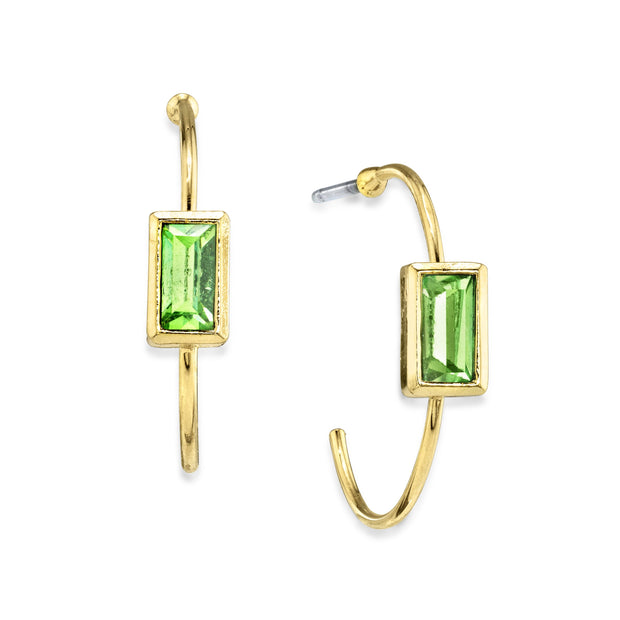14K Gold Dipped Square Crystal Open Hoop Post Earring Light Green