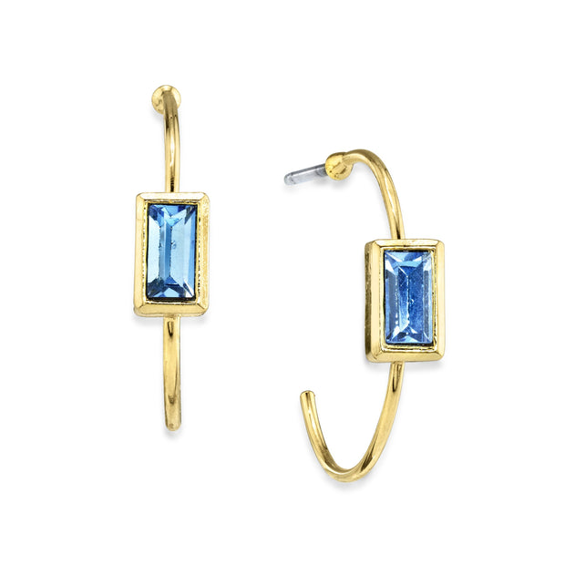 14K Gold Dipped Square Crystal Open Hoop Post Earring Blue