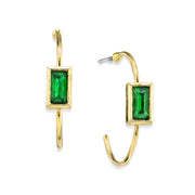 14K Gold Dipped Square Crystal Open Hoop Post Earring Dark Green