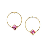 14K Gold Dipped Diamond Shape Crystal Hoop Post Earring Pink