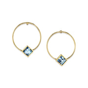 14K Gold Dipped Diamond Shape Crystal Hoop Post Earring Blue