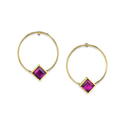 14K Gold Dipped Diamond Shape Crystal Hoop Post Earring Purple