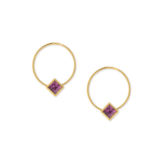 14K Gold Dipped Diamond Shape Minimalist Purple Crystal Hoop Earrings