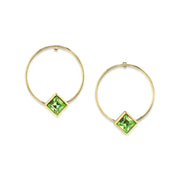 14K Gold Dipped Diamond Shape Crystal Hoop Post Earring Light Green