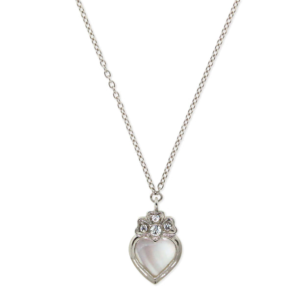 Silver Tone Crystal Genuine Mother Of Pearl Heart Necklace 16 In Adj