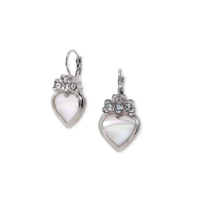 Silver Tone Crystal Genuine Mother Of Pearl Heart Lever Back Earrings