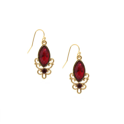 Gold Tone Red Drop Earring