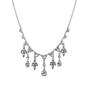 Silver-Tone Crystal Bib Necklace 16 - 19 Inch Adjustable