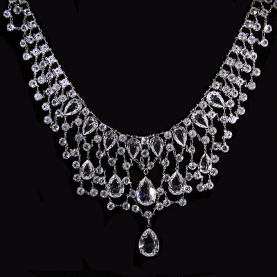 Silver Tone Pear Shaped Swarovski Crystal Bib Necklace 16   19 Inch Adjustable