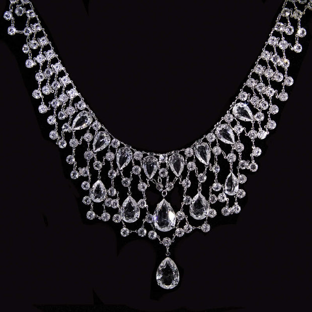 Silver Tone Pear Shaped Swarovski Crystal Bib Necklace 16 - 19 Inch Adjustable