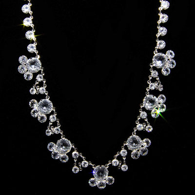 Silver Tone Swarovski Crystal Drop Necklace 13 In Adj