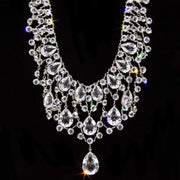 Silver Tone Swarovski Crystal Bib Necklace 15 In Adj