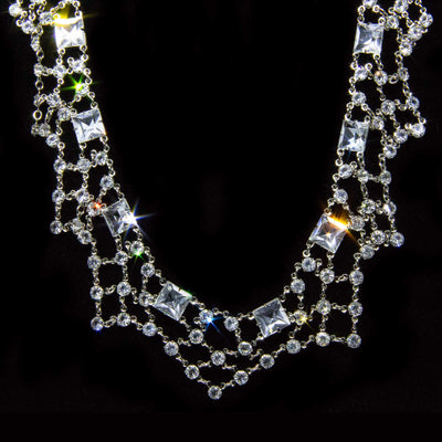 Silver Tone Swarovski Crystal Collar Necklace 12 In Adj