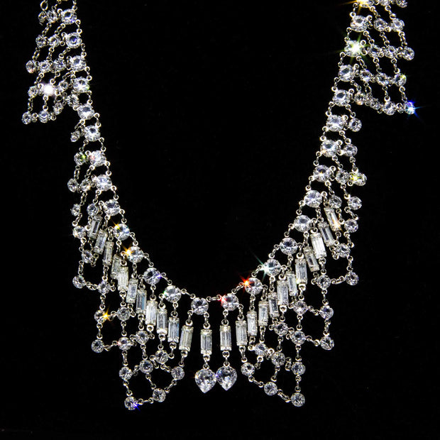 Silver Tone Swarovski Crystal Bib Necklace 12 In Adj