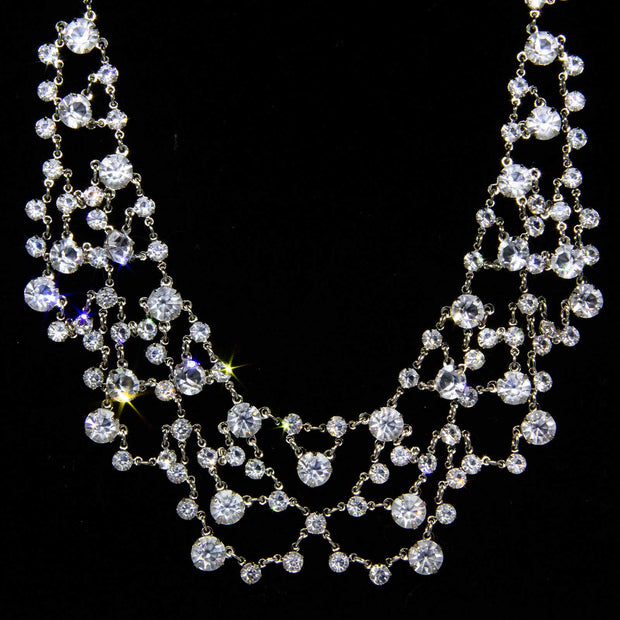 Silver Tone Swarovski Crystal Bib Necklace 13 In Adj