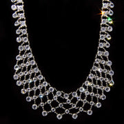 Silver Tone Swarovski Crystal Collar Necklace 15 In Adj