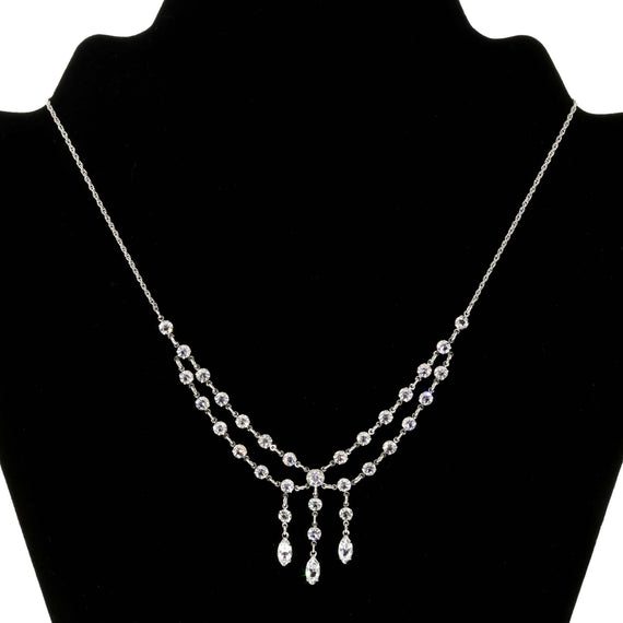 Silver Tone Swarovski Crystal Drop Necklace 15.5  Adj.