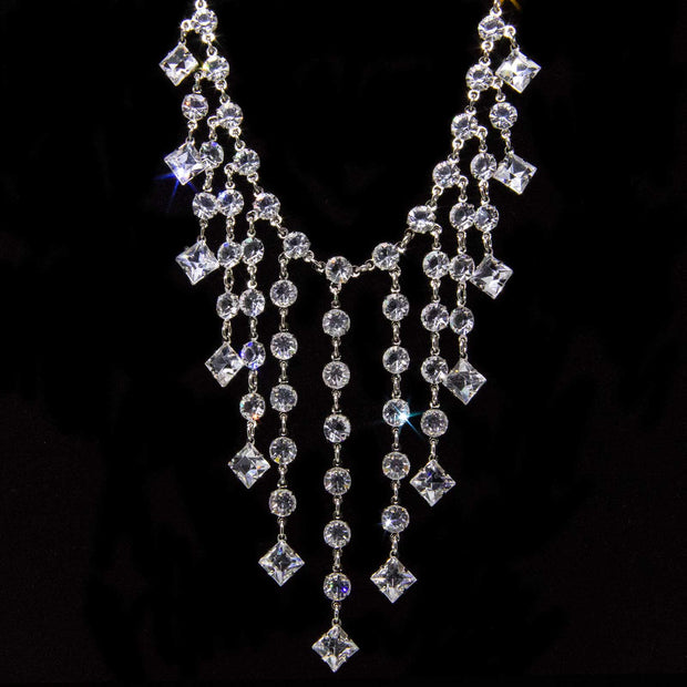Silver Tone Swarovski Crystal Bib Necklace 15 In