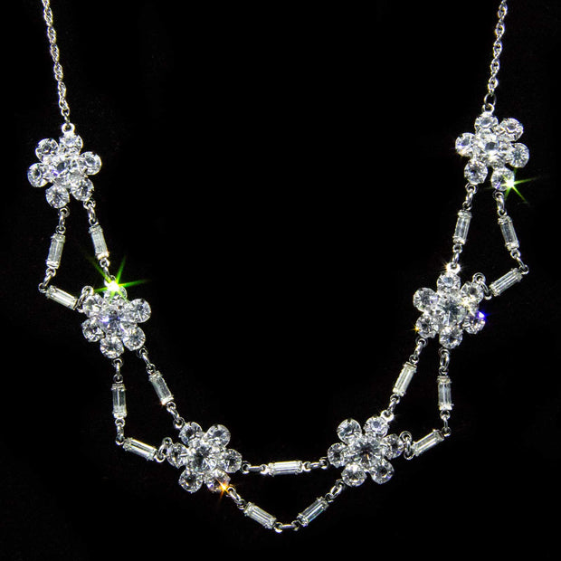 Silver Tone Swarovski Crystal Flower Baguette Necklace 15 In