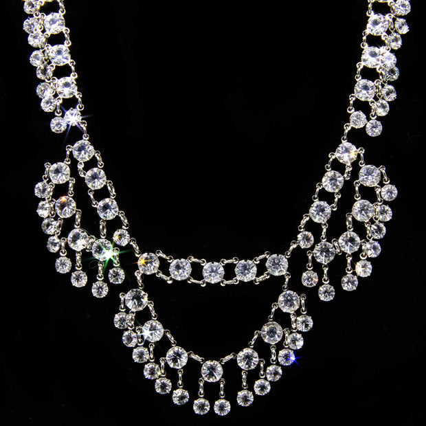 Silver Tone Swarovski Crystal Draped Collar Necklace 15 In