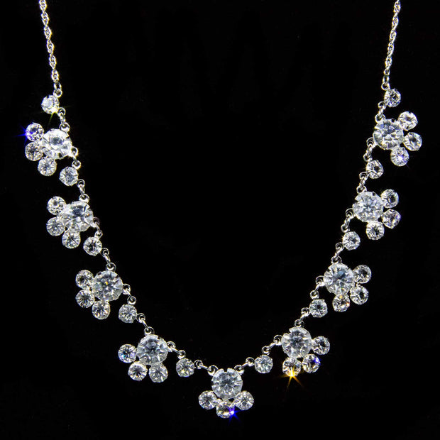 Silver Tone Round Swarovski Crystal Drop Necklace 15 In