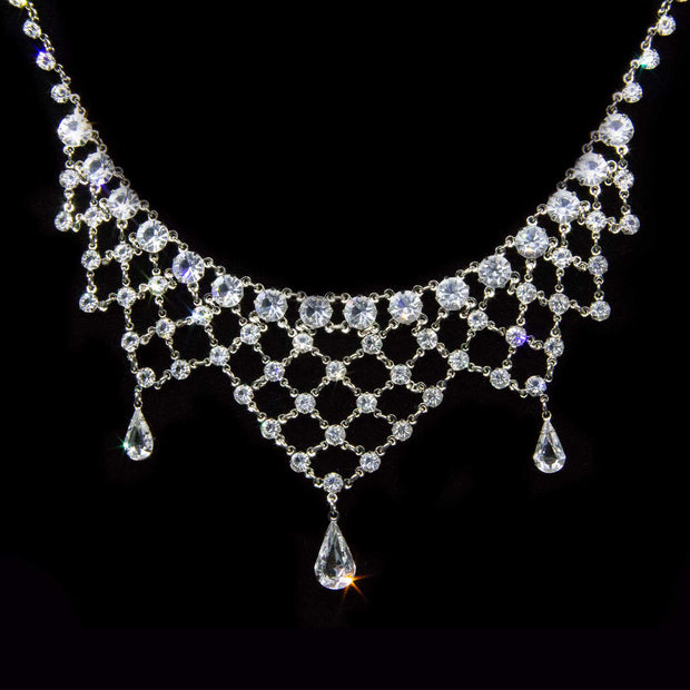 Silver Tone Swarovski Crystal Bib Necklace 13.5 In Adj