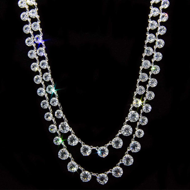 Silver Tone Swarovski Crystal Double Strand Necklace 12.5 In  Adj