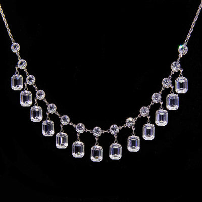Silver Tone Swarovski Crystal Drop Necklace 16 Inch