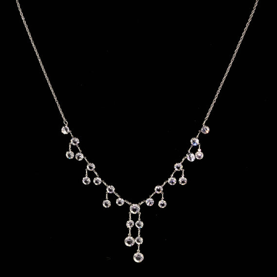 Silver Tone Swarovski Crystal Drop Necklace 18