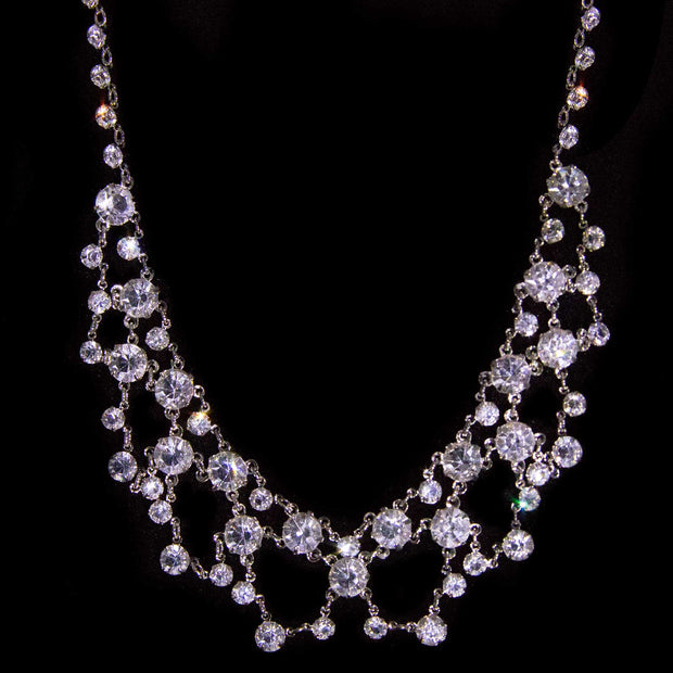 Silver Tone Swarovski Crystal Collar  Drop Necklace 14.5 In