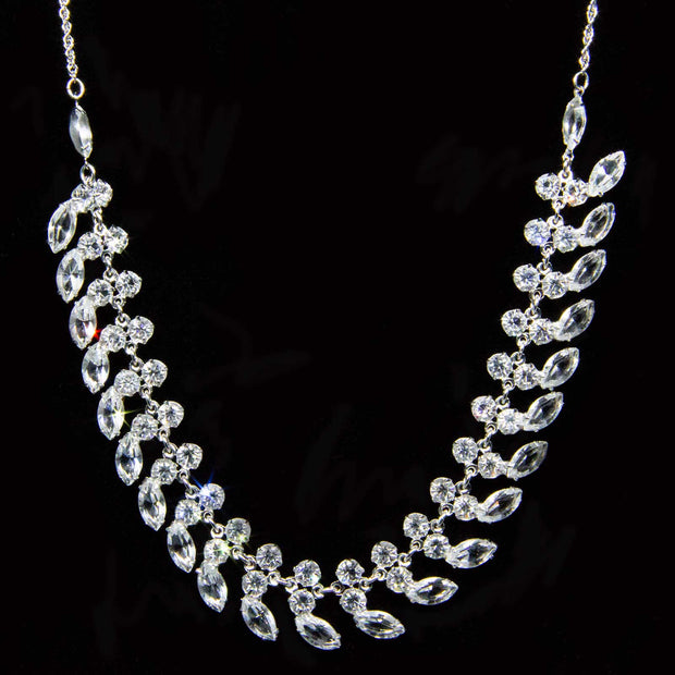 Silver Tone Swarovski Crystal Collar Necklace 15 In