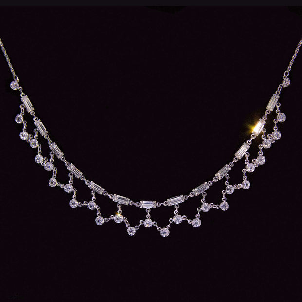 Silver Tone Swarovski Crystal Baguette Collar  Necklace 15 In
