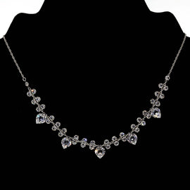 Silver Tone Swarovski Crystal Heart Necklace 15