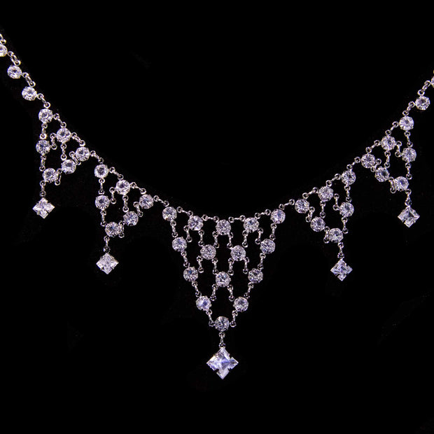 Silver Tone Swarovski Crystal Drop Necklace 15 In